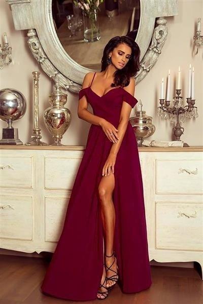 63fd6e2f Długa Sukienka Elizabeth - bordowa Bordowy | Odzież \ Sukienki ...