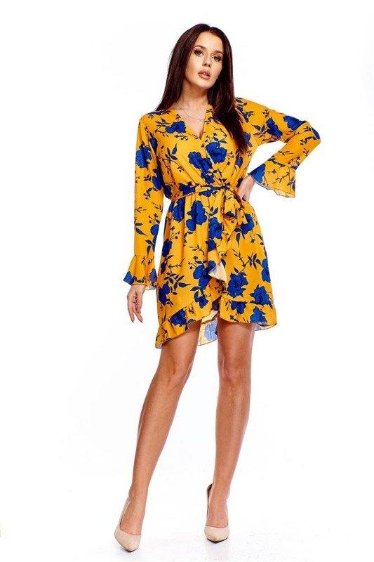 93c00def3c Kopertowa sukienka z falbaną Żółty