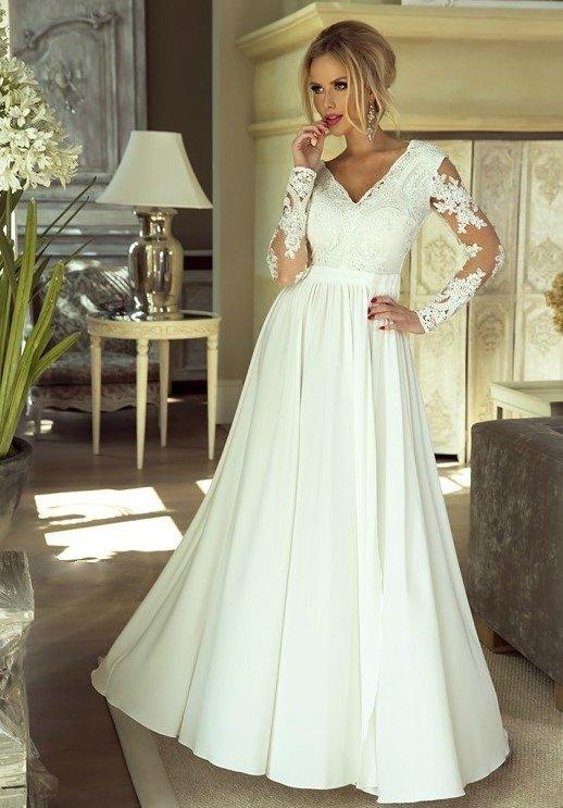 3ed7be68b4 Długa Sukienka LUNA koronkowa - Biały Biały