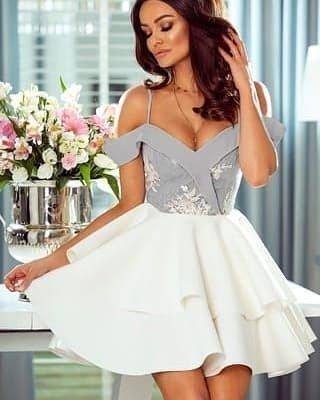 4739919fd3 Sukienka Anastazja- szaro-biała biało-szary