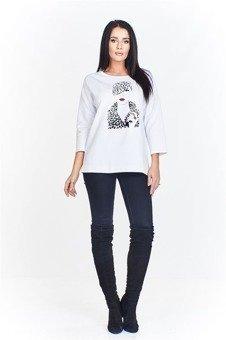 c87af50e1e Koszulowa bluzka o luźnym kroju z dłuższym tyłem ozdobiona ciekawymi ...