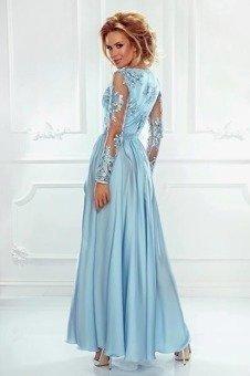 e0f8f68ed6 Długa Sukienka LUNA koronkowa - Błękitny