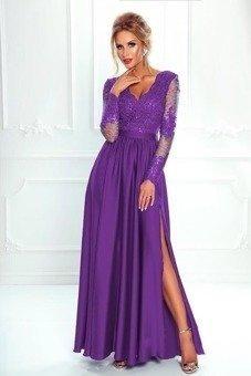 3ee0bd4df6 Długa Sukienka LUNA koronkowa - fioletowy