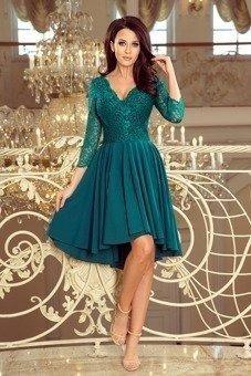 8ab70214bb NICOLLE - sukienka z dłuższym tyłem -zielony