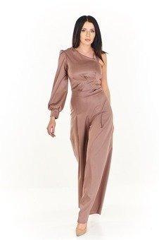 3846b953ecb4d Nietuzinkowy zestaw krótka bluzka z jednym długim rękawem i szerokie spodnie  z wysokim stanem