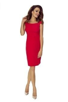 cc43a71972 Ołówkowa sukienka z półrękawkami i a la prostokątnym dekoltem