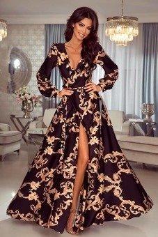 4477518f72 Sukienka Selena długa Maxi - czarno-złoty