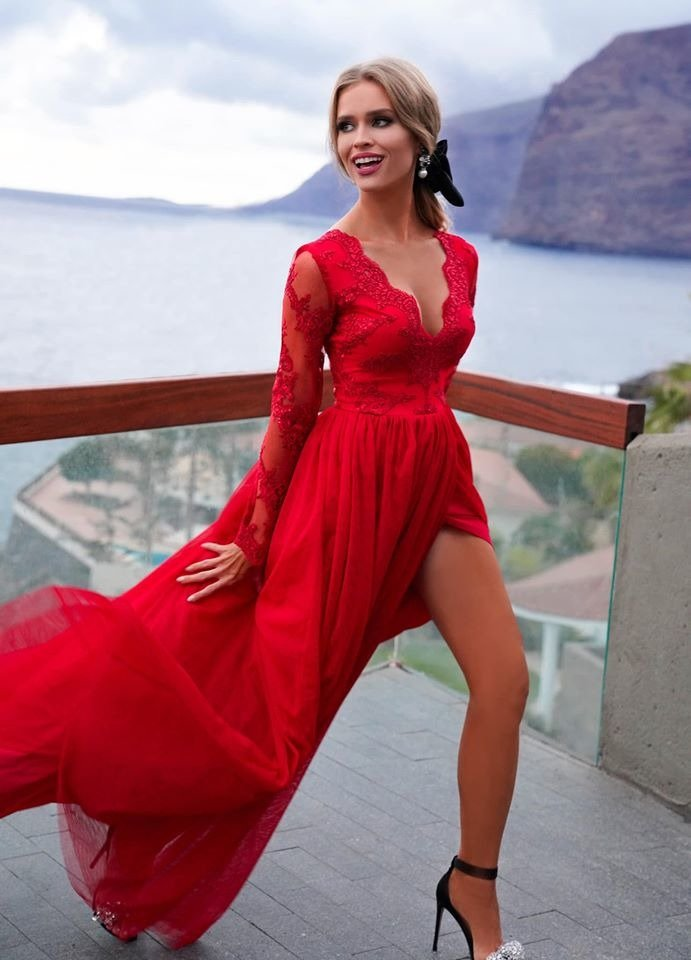 ADEL długa suknia wieczorowa czerwona