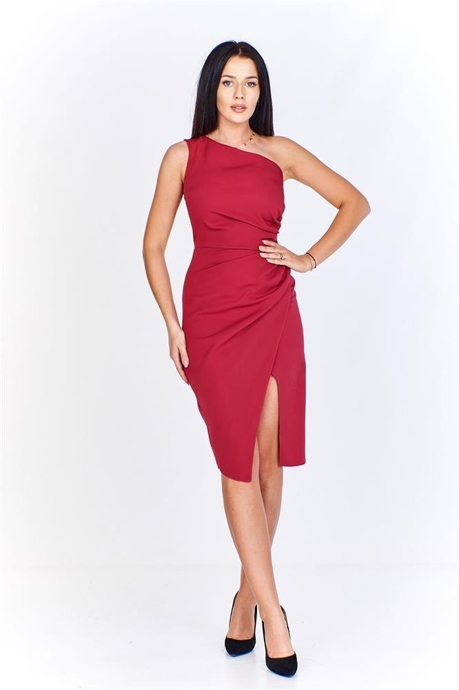 56cd70bd85 Asymetryczna sukienka na jedno ramię z drapowanym bokiem i ...