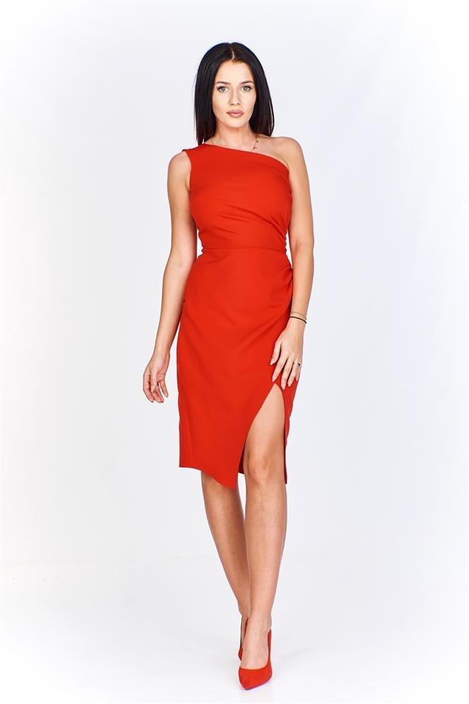 749e087d1d Asymetryczna sukienka na jedno ramię z drapowanym bokiem i ...