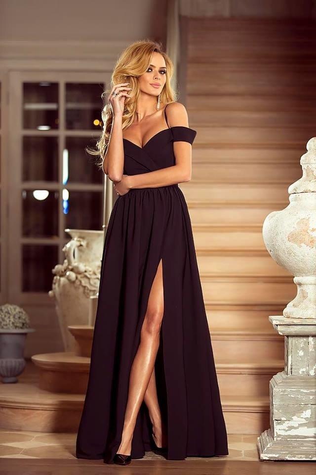 17cb7bd05b Długa Sukienka Elizabeth - czarna Czarny
