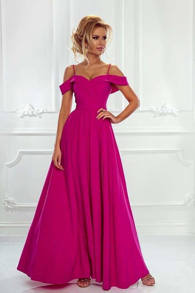 ef1ba95d7f Długa Sukienka Elizabeth - fuksja fuksja