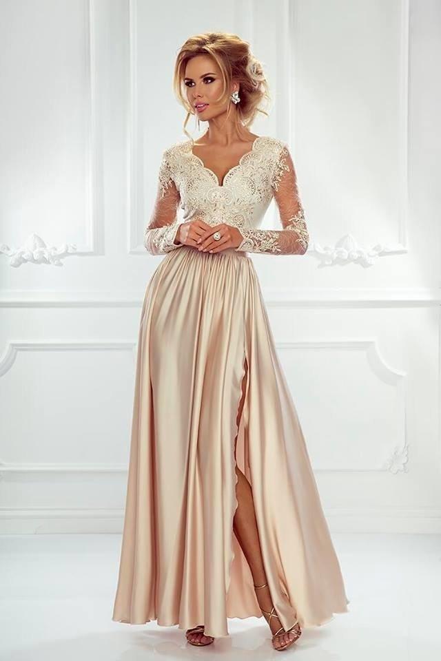 0e09f84f99 Długa Sukienka LUNA koronkowa - Beż beżowy