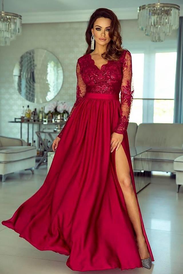 Długa Sukienka LUNA koronkowa Bordo