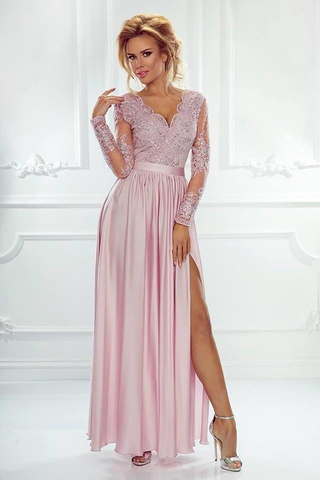 dc3453d856 Długa Sukienka LUNA koronkowa - Pudrowy róż pudrowy róż