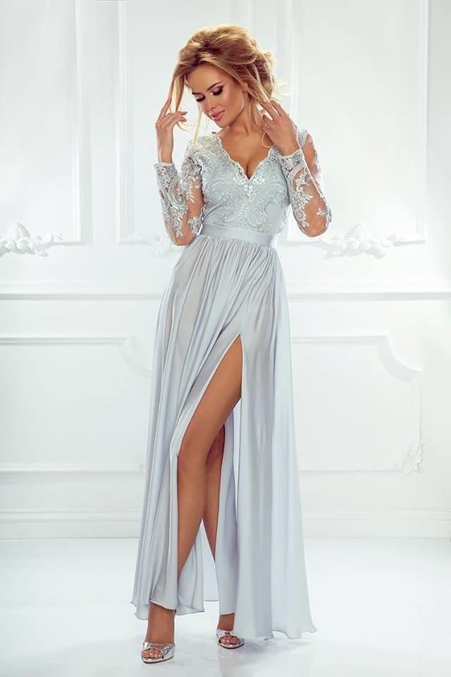 4891c13e1e Bardzo Długa Sukienka LUNA koronkowa - Szary szary