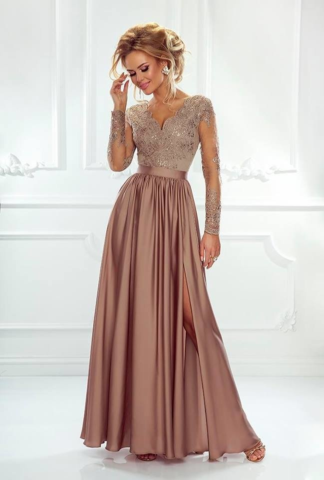 0083db1aa5 Długa Sukienka LUNA koronkowa - cappuccino cappuccino