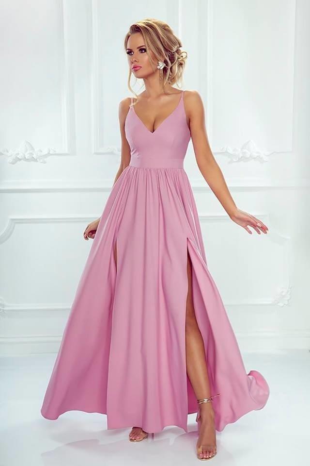 6244cfd4493 Długa Sukienka NINA z dwoma rozporkami - PUDROWY pudrowy róż ...