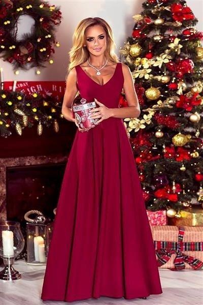 cde61892641914 Długa Suknia wieczorowa KLAUDIA - bordowy Bordowy | Odzież \ Sukienki