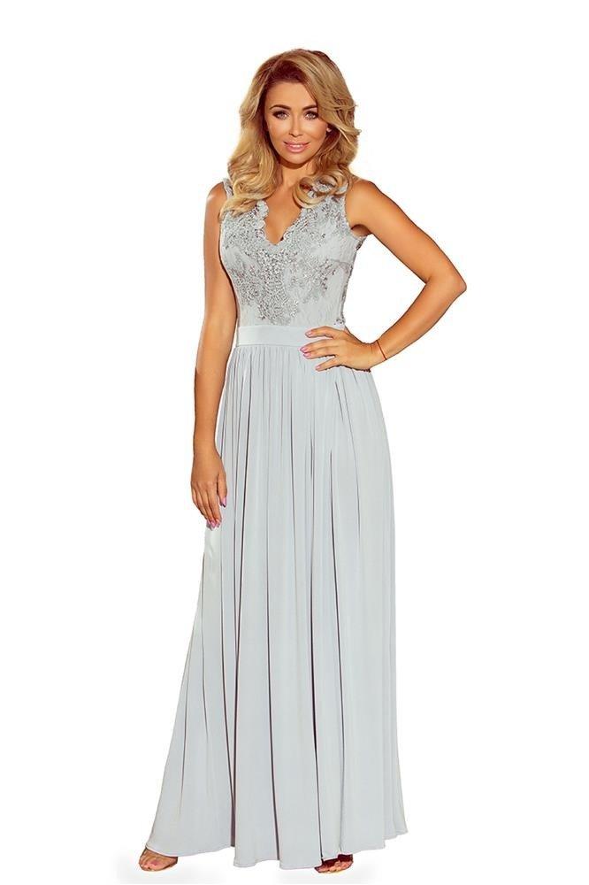11ff2963 Długa sukienka z koronkową górą, wycięciem na plecach i swobodnym ...