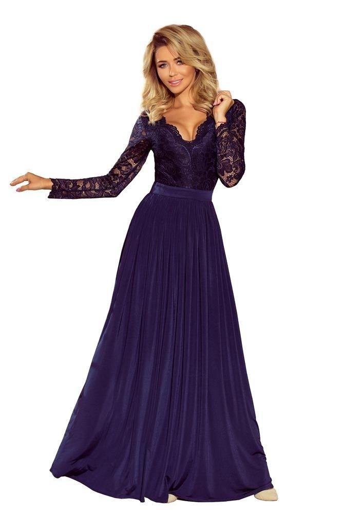 e2eeabd9bf Długa sukienka z koronkową górą z nietuzinkowym dekoltem oraz oryginalnym  wycięciem na plecach Kliknij
