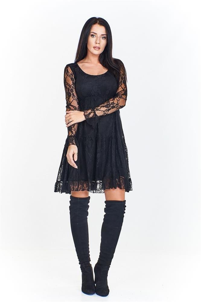 6839ea10c9 Koronkowa sukienka na podszewce o lekko trapezowym kroju z ...