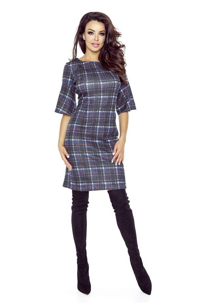 3e6715a3ea2458 Kraciasta sukienka z szerokim rękawem Multikolor | Odzież \ Sukienki