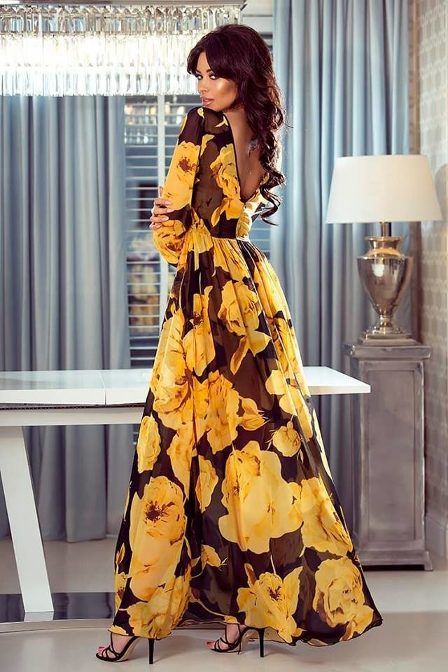 9129e80b7d LINDA- Sukienka długa Maxi- kwiaty zółte Czarny