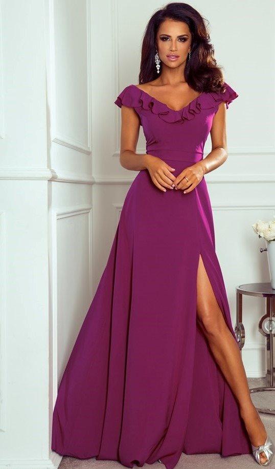 Marbella długa suknia z falbanami fioletowa