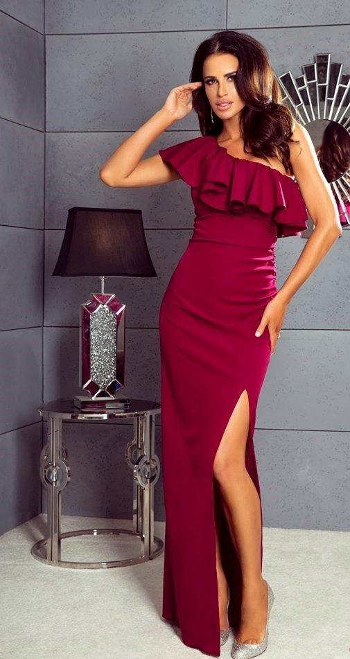 bdadaa04d1 Maya - sukienka na jedno ramię - burgund Bordowy