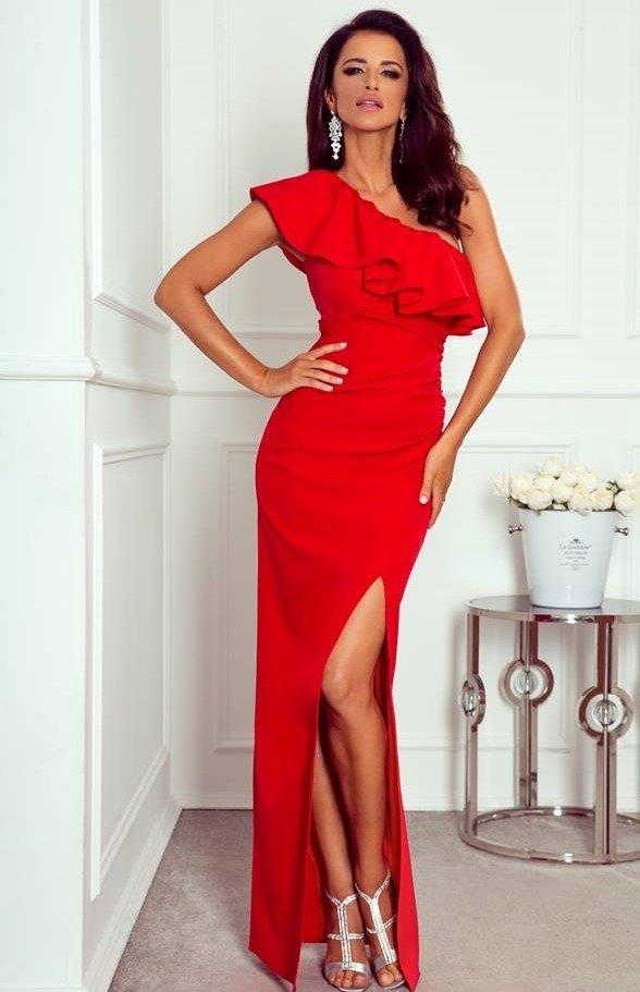 c619d9ec5e Maya - sukienka na jedno ramię - czerwony Czerwony