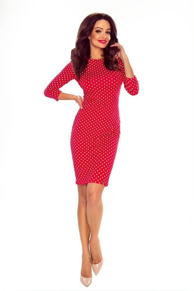 8d08484e59 Ołówkowa sukienka w grochy z rękawami 3 4 Czerwony