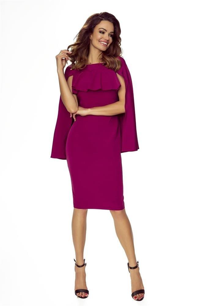 1723e17607 Ołówkowa sukienka z a la falbanką na wysokości biustu i dodatkową a ...