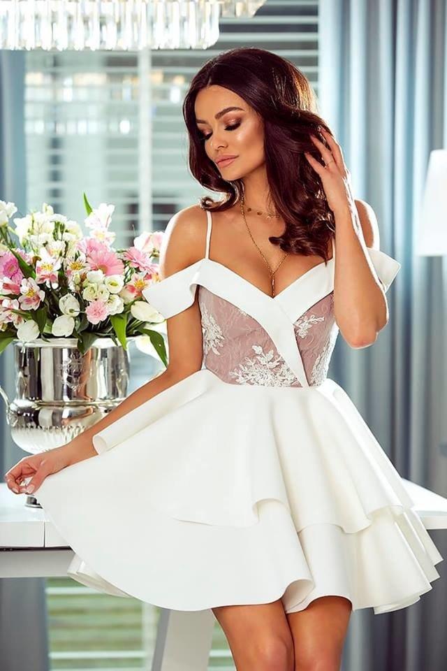 7ce336d559 Sukienka Anastazja- biało-beżowa kremowo-biały