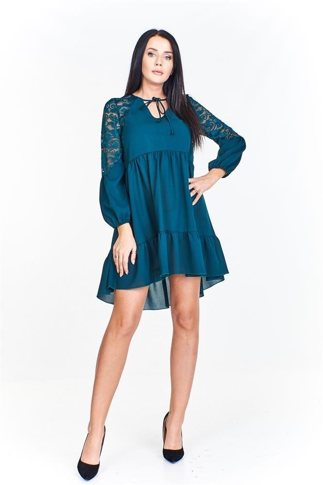 4c3cac11 Zwiewna sukienka z koronkowymi wstawkami na rękawach i plecach oraz ...